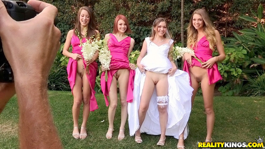 Babes flashing pussies in wedding..